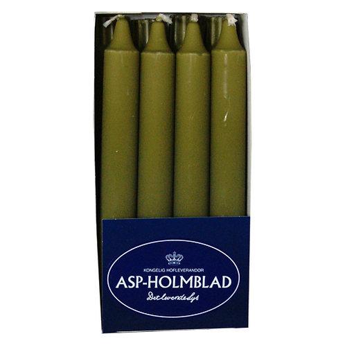 Kronelys 2,4x20 cm 8 stk. 100% ren stearin Olive