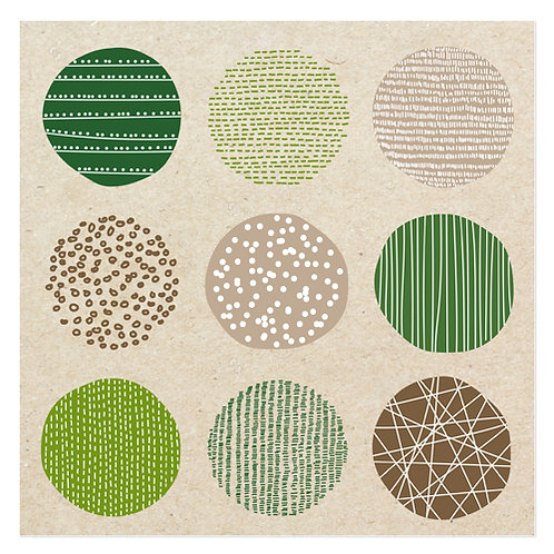 "Design servietter 3-Lag ""Go Green Patterns"" 33 x 33 cm 20 stk."