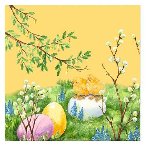 "Design servietter ""Easter Meadow Yellow"" 33 x 33 cm 3-lag 20 stk."