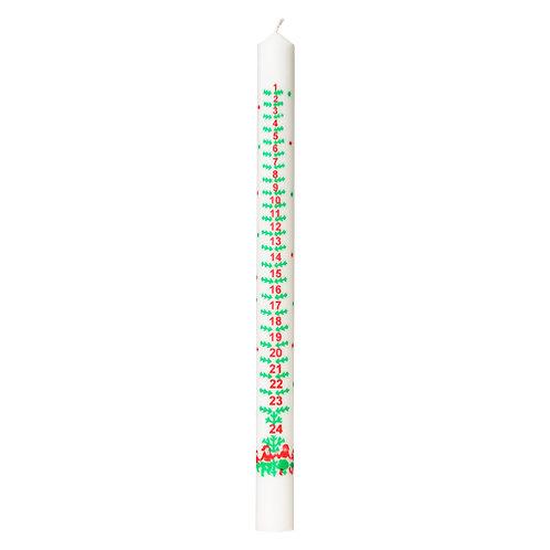 Kalenderlys No. 1. 3x39 cm hvid 100% ren stearin