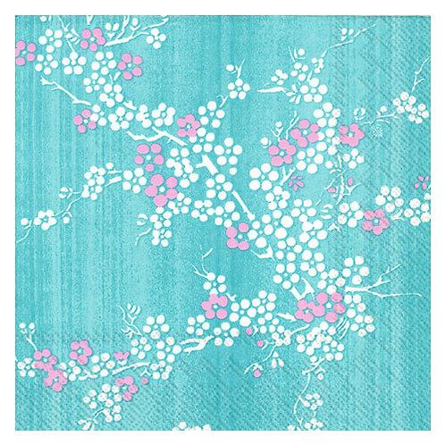 """Storkøb servietter """"Hanami Turquoise"""" 33 x 33 cm 3-lag 240"""