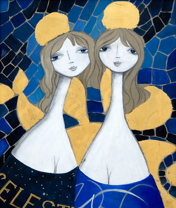 Blue Spanish Wine Angels ~ original painting