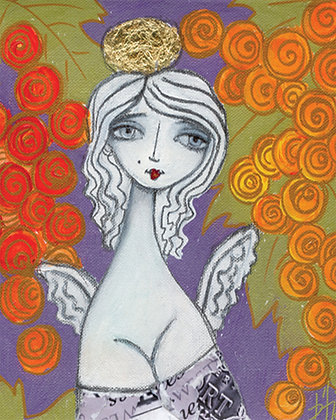 Sister Wine Angel 2 - canvas giclée 10x8