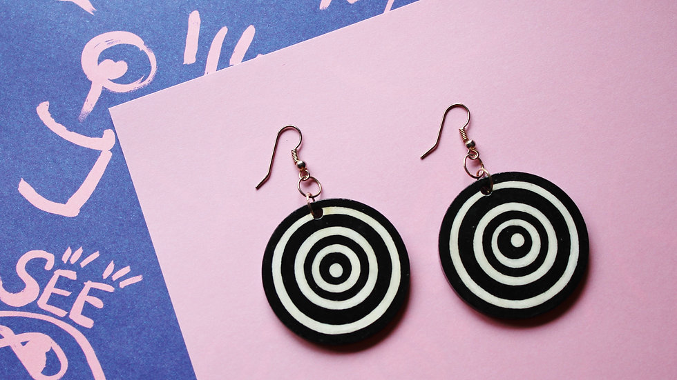 Op Art Spiral Circle Earrings