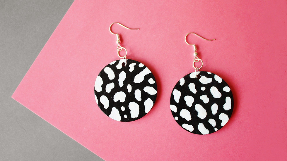 Black and White Leopard Print Circle Earrings