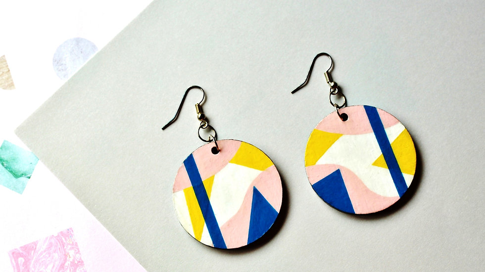 Abstract Pink/Yellow/Blue Circle Earrings