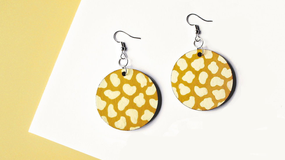 Mustard and Yellow Leopard Print Circle Earrings