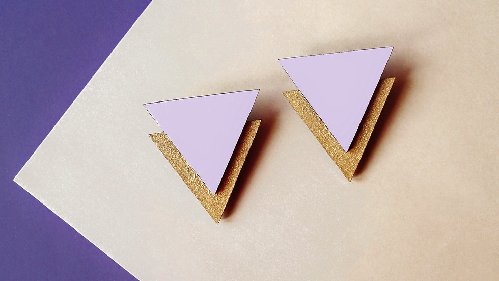Art Deco Lilac and Gold Triangle Stud Earrings