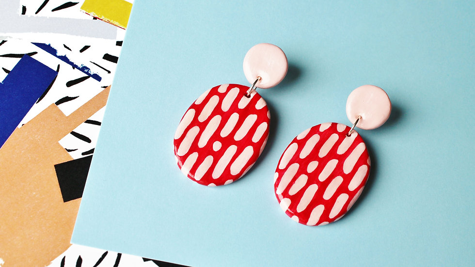 Red and Pink Splatter Pattern Two-Piece Stud Earrings