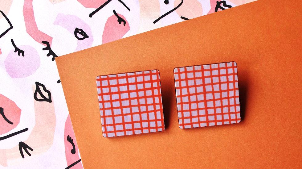 Lilac and Orange Crisscross Pattern Square Stud Earrings