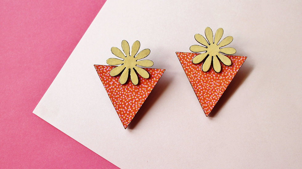 Orange and Yellow Flower/Triangle Stud Earrings