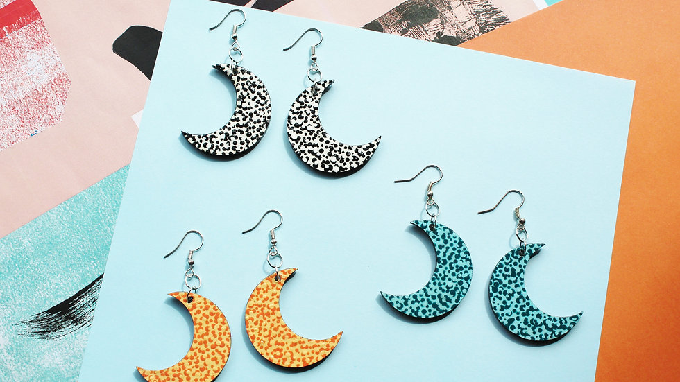 Dotted Pattern Moon Earrings (choose from 3 colours)