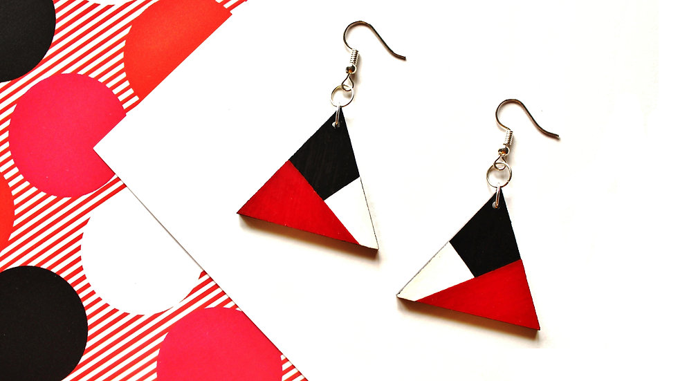Red/Black/White Colour Block Triangle Earrings