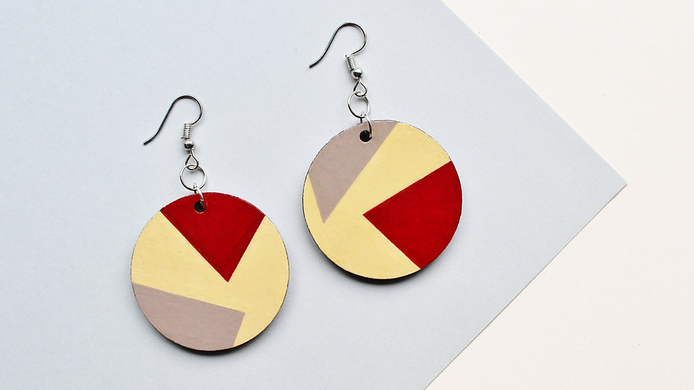 Geometric Colour Block Red/Grey/Yellow Circle Earrings
