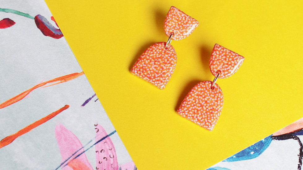 Orange and Pink Dotted Pattern Two-Piece Stud Earrings