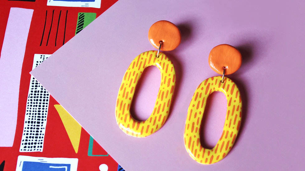 Yellow and Orange Oval Two-Piece Stud Earrings