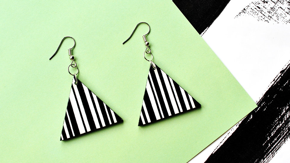 Black and White Striped Pattern Triangle Earrings
