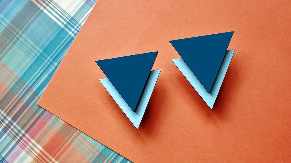 Art Deco Teal and Blue Triangle Stud Earrings