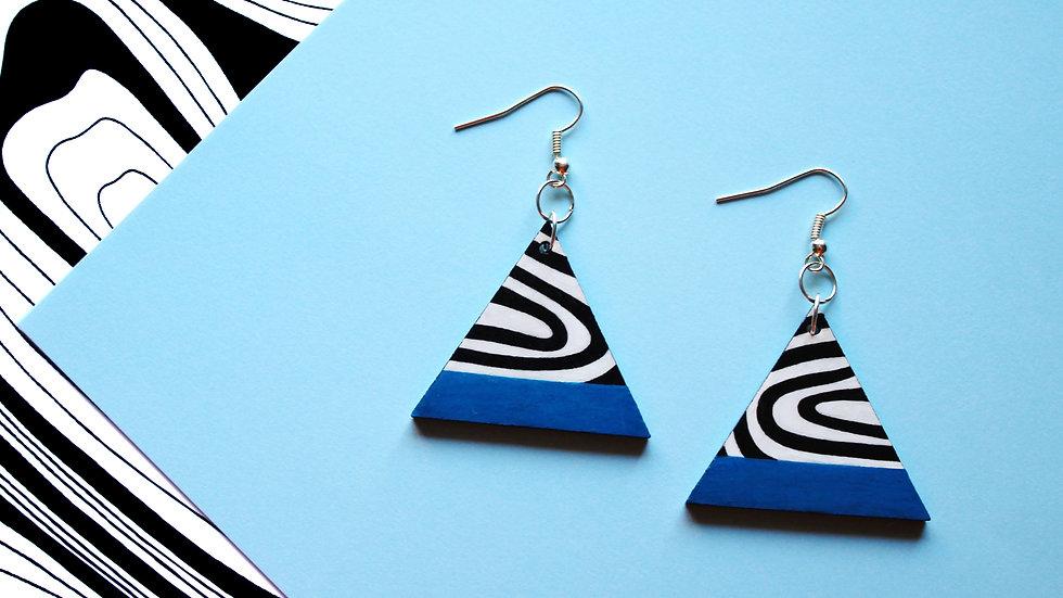 Blue Stripe Wavy Pattern Triangle Earrings