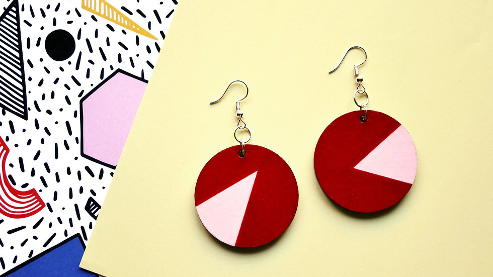 Red and Pink Colour Block Circle Earrings
