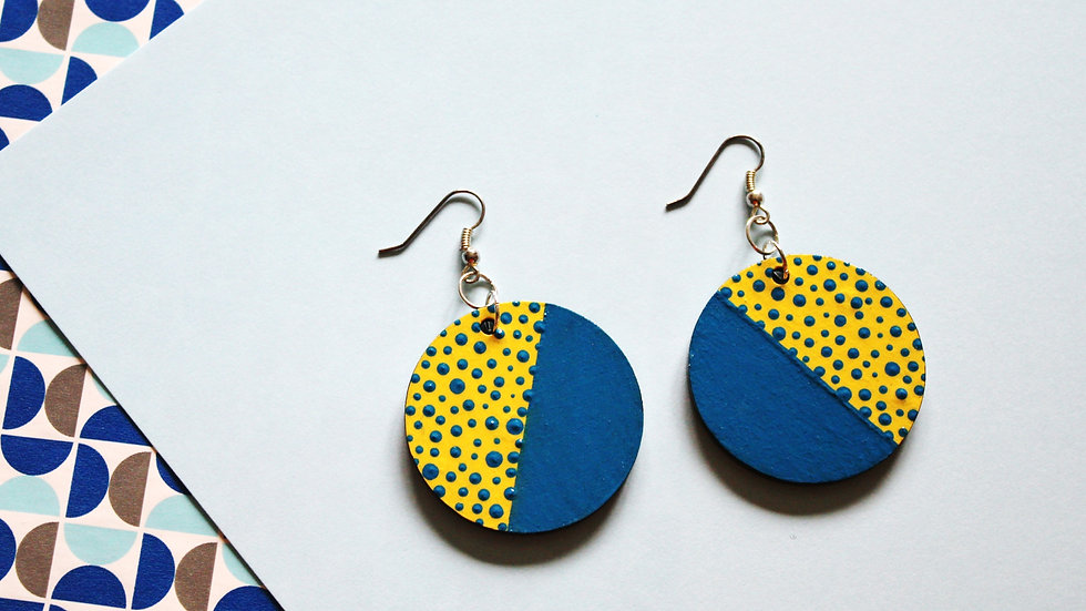 Blue and Yellow Dotted Pattern Circle Earrings