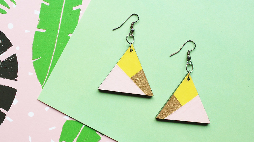 Pink Colour Block Triangle Earrings