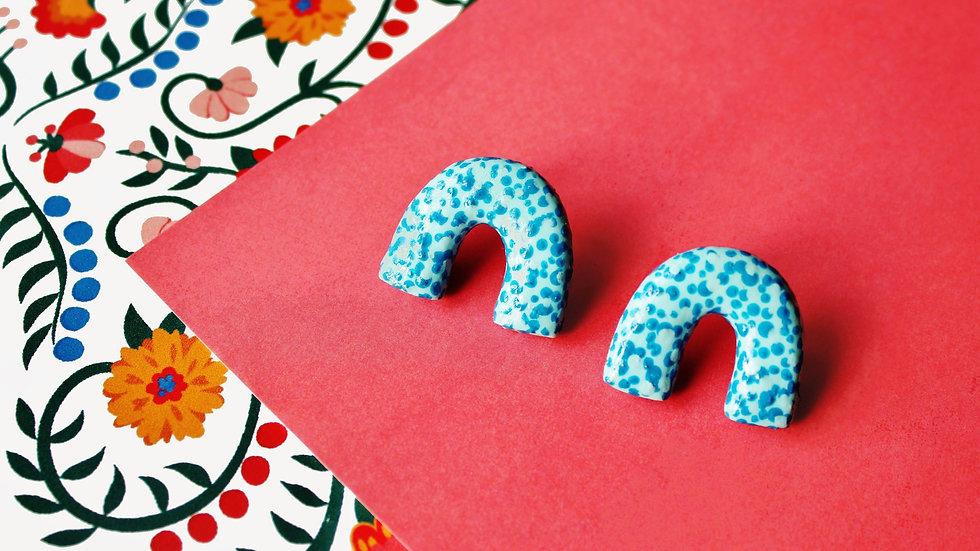 Blue Dotted Pattern Mini Arch Stud Earrings