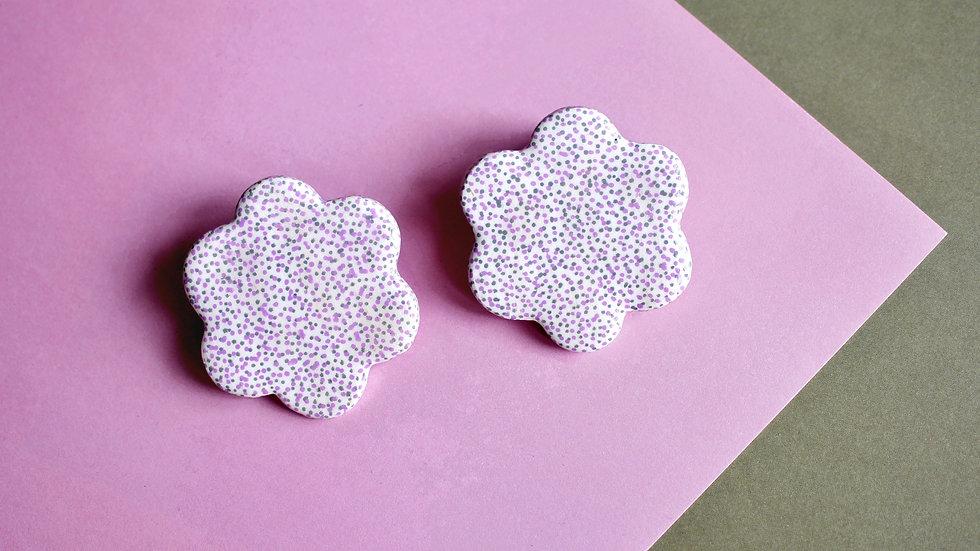 Dotted White Oversized Flower Stud Earrings