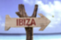 Ibiza sign with a beach on background .j