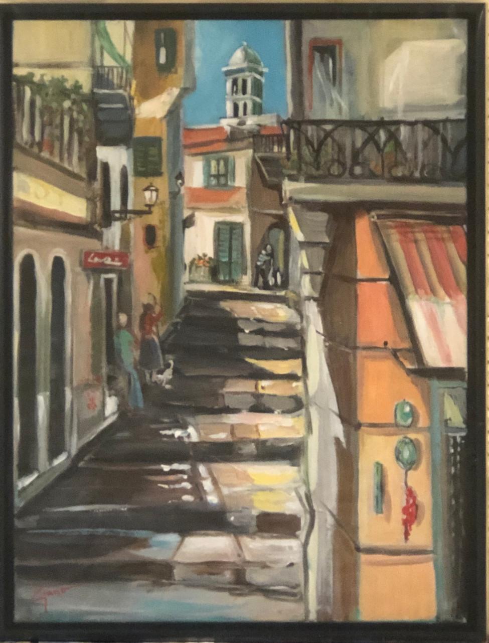 Scalinata in Amalfi Acrylic on canvas  Framed 18x24 Price $ 1,500