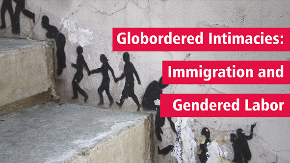 Globordered Intimacies: Immigration and Gendered Labor o	Picture: Concrete stairs, with a picture going up the wall next to the steps of black shadow figures holding hands
