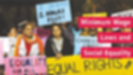 """Minimum Wage Laws and Social Equality oPicture: Women protesters with signs, including: """"I deserve two hours rest"""" """"Equal rights for . .."""" and """"Equal rights for all"""""""