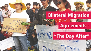 """Bilateral Migration Agreements – """"The Day After"""" oPicture: Protesters holding signs; one in Hebrew says: Cucumber season, next to a man holding a fistful of cucumbers"""