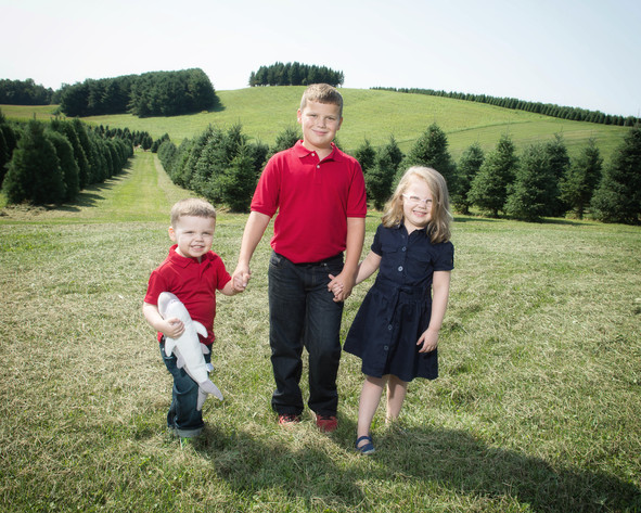 Three Kids at Tree Farm
