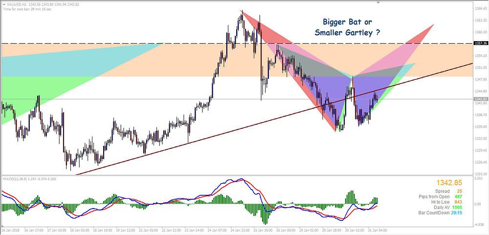 Gold Hourly chart, Bat and Gartley Pattern