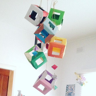 Origami Cubes Suspended