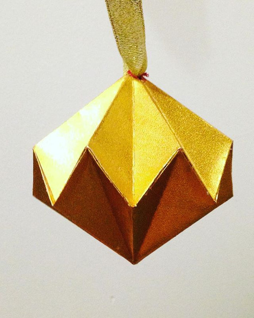 Origami Diamond Christmas Ornament