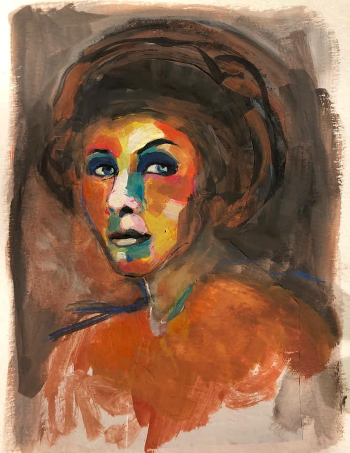 Portrait n°5  Dessin 13 x 18 Cadre 19 x 25  Passe partout et verre.  Gouache acrylique et crayon sur papier  150 euros