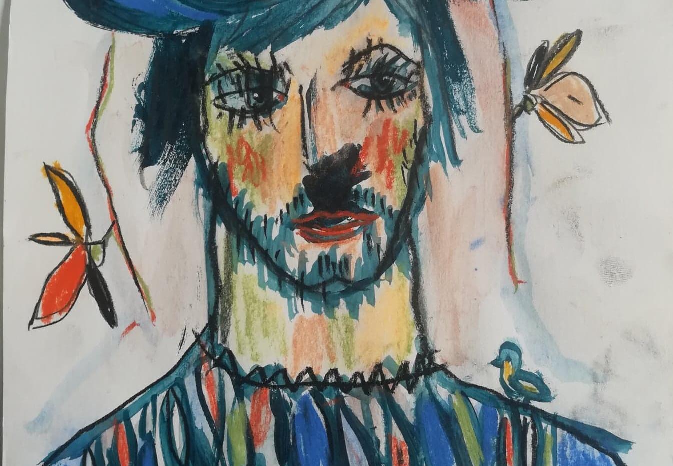 Dessin couleur N°1   21 x 29 cm Acrylique et Pastel sur papier  encadré   130 euros