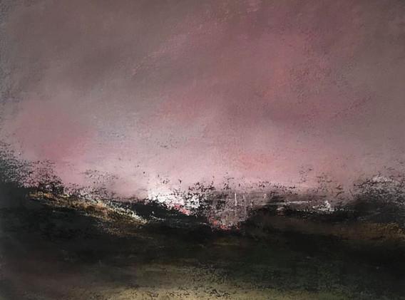 Pastel n°11  Sans titre - Paysages imaginés. 14 x 14 cm Encadré cadre bois 23 x 23 cm - passe partout - rehausse et verre anti reflets (photo 17) Pastel sec   120 euros