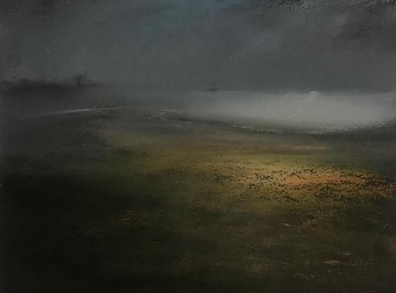 Pastel n°7  Sans titre - Paysages imaginés. 14 x 14 cm Encadré cadre bois 23 x 23 cm- passe partout - rehausse et verre anti reflets (photo 17) Pastel sec   réservé