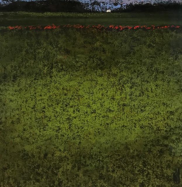 Pastel n°18  Sans titre - Paysages imaginés. 14 x 14 cm Encadré cadre bois 23 x 23 cm - passe partout - rehausse et verre anti reflets (photo 17) Pastel sec   120 euros