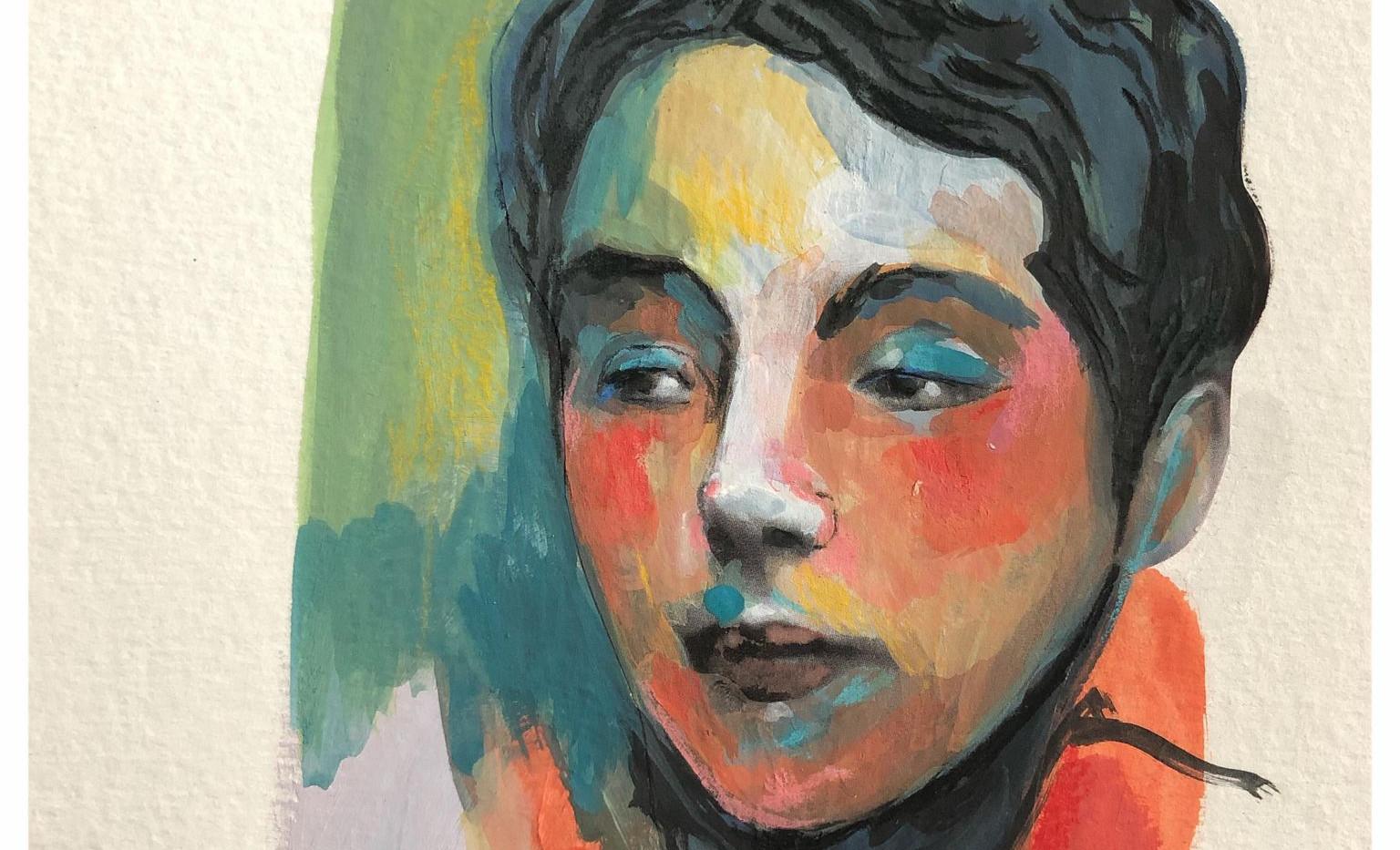 Portrait n°1  Dessin 13 x 18 Cadre 19 x 25  Passe partout et verre.  Gouache acrylique et crayon sur papier  réservé