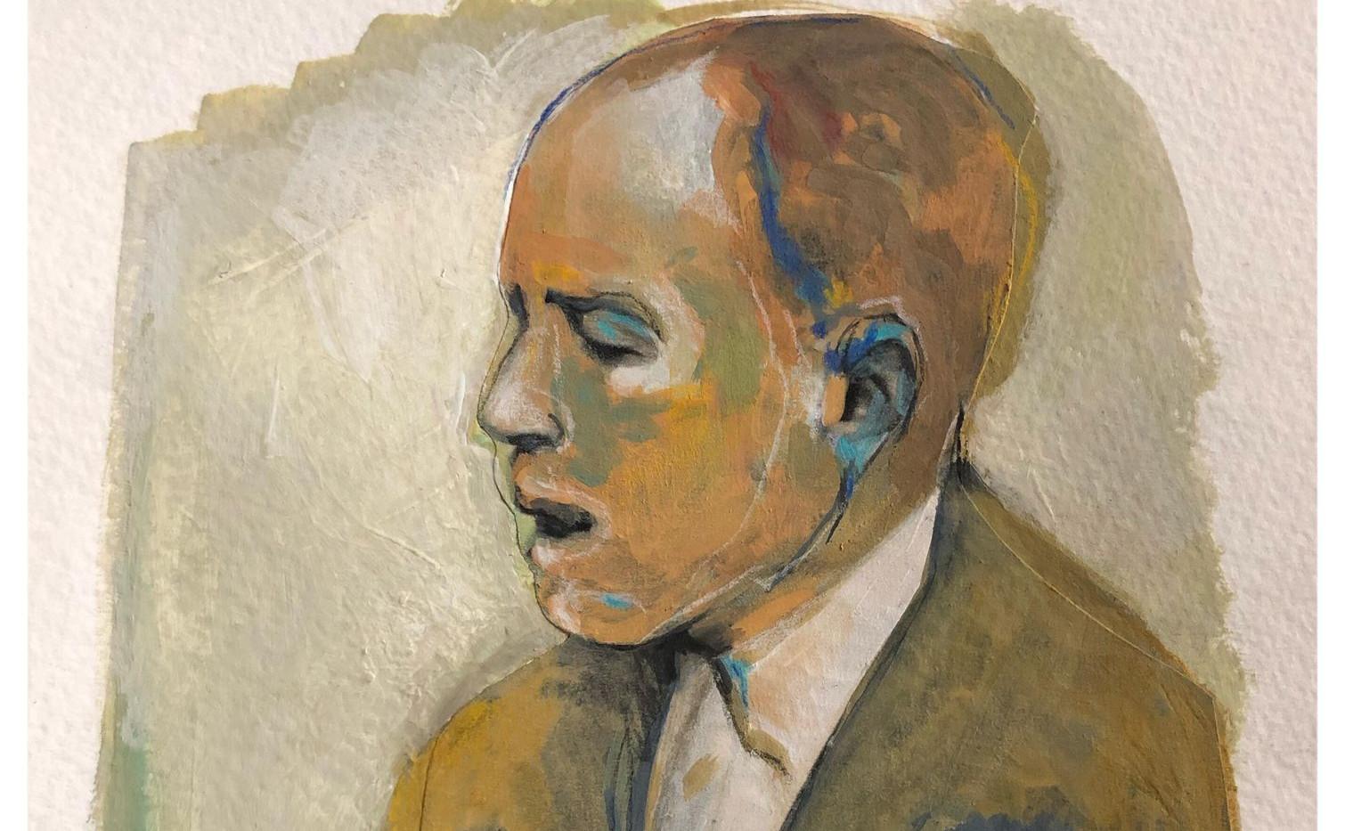 Portrait n°2  Dessin 13 x 18 Cadre 19 x 25  Passe partout et verre.  Gouache acrylique et crayon sur papier  réservé
