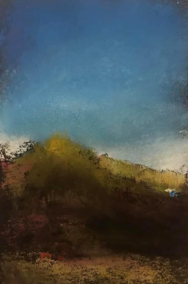 Pastel n°2  Sans titre - Paysages imaginés. 8 x 12 cm Encadré cadre bois 10 x 15 cm- passe partout- rehausse et verre anti reflets Pastel sec   réservé