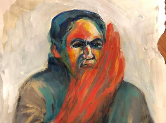 Portrait n°6  Dessin 14,5 x 21 Cadre 15 x 21 cm Gouache acrylique et crayon sur papier encadré sous verre  150 euros