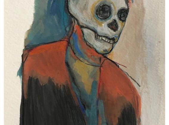 Portrait n°4  Dessin 13 x 18 Cadre 19 x 25  Passe partout et verre.  Gouache acrylique et crayon sur papier encadré sous verre et passe partout  150 euros