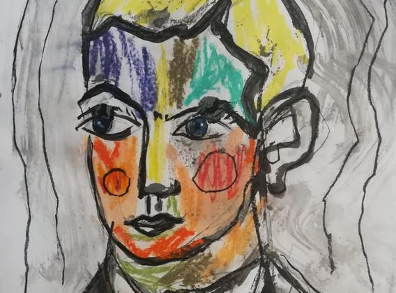Dessin couleur n°3 21 x 29 cm Acrylique et pastel encadré   130 euros