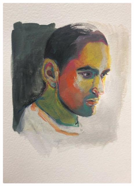 Portrait n°8  Dessin 13 x 18 Cadre 19 x 25  Passe partout et verre.  Gouache acrylique et crayon sur papier encadré sous verre et passe partout  150 euros
