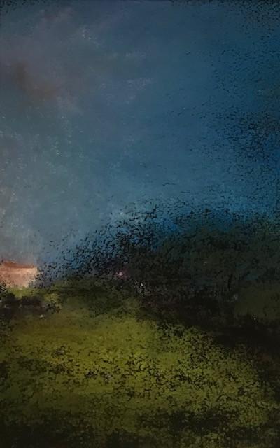 Pastel n°5  Sans titre - Paysages imaginés. 8 x 12 cm Encadré cadre bois 10 x 15 cm- passe partout- rehausse et verre anti reflets Pastel sec   réservé